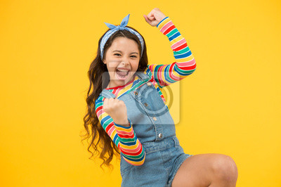 Fototapete summer vacation joy. little child yellow background. old fashioned handkerchief for kid. beauty and fashion. small girl long hair. happy childhood. retro girl express happiness. feeling great success