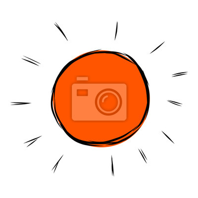 Fototapete Sun / cartoon Vektor und Illustration, Hand gezeichnet Stil, isoliert auf weißem Hintergrund.