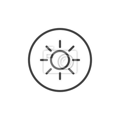 Sun-helle linie ikone, entwurfsvektorzeichen, lineares artpiktogramm ...