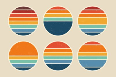 Fototapete Sun retro badge and emblem set. Abstract ocean view background inside circles shapes with geometric vintage distressed style. Perfect for sticker, logo, icon, t-shirt or any purpose.