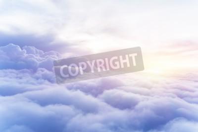 Fototapete Sunny Sky abstrakten Hintergrund, schöne cloudscape, auf dem Himmel, Blick über weiße flauschige Wolken, Freiheit Konzept