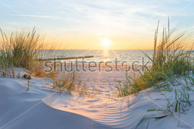 Fototapete Sunset at the Baltic Sea Beach