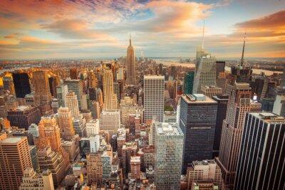 Fototapete Sunset Blick auf New York City mit Blick auf Manhattan