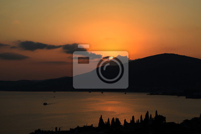 sunset over the mediterranean sea in croatia fototapete. Black Bedroom Furniture Sets. Home Design Ideas