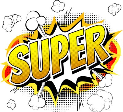 Fototapete Super - Comic-Stil Wort isoliert auf weißem Hintergrund.