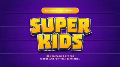 Fototapete Super kids editable text effect in modern 3d style