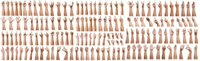 Fototapete SUPER SET of Male asian hand gestures isolated over the white background. Grab with five fingers Action. sexual sign. Masturbation.Pointing Visual Touch Action.