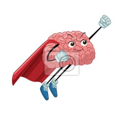 Superheld Gehirn Cartoon-Symbol Vektor-Illustration Grafik-Design