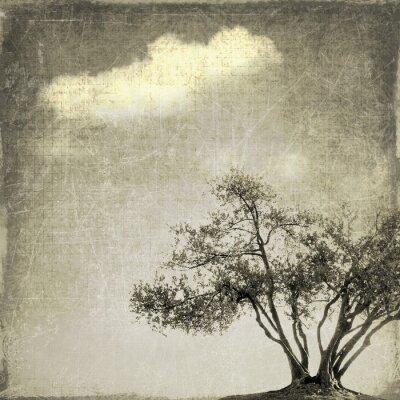 Fototapete Surreale Landschaft mit einzelnen Baum in Sepiatönen