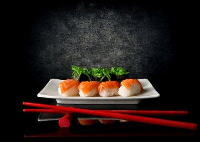 Fototapete Sushi mit Stäbchen