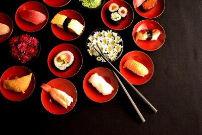 Fototapete Sushi with chrysanthemums
