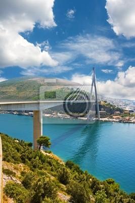 Fototapete Suspension bridge in the coastal town of Dubrovnik in Croatia