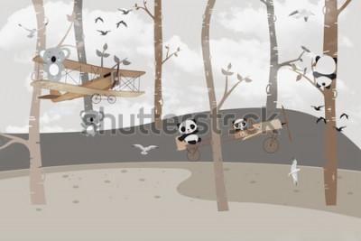 Fototapete Süße Koalas und Pandas spielen im Dschungel
