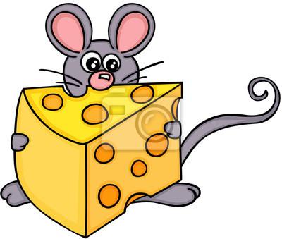 Süße Maus Mit Käsescheibe Fototapete Fototapeten Loch Von Hand