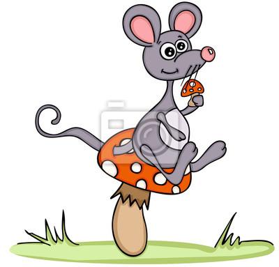 Süße Maus Mit Pilz Fototapete Fototapeten Pilz Von Hand