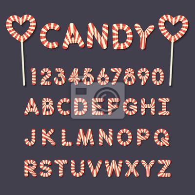 Süßigkeiten Lutscher Alphabet Buchstaben und Zahlen