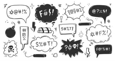 Fototapete Swear word speech bubble set. Curse, rude, swear word for angry, bad, negative expression. Hand drawn doodle sketch style. Vector illustration.