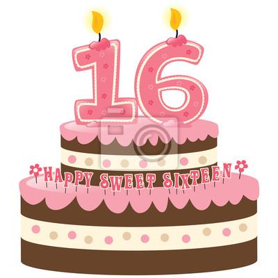 Fototapete Sweet Sixteen Birthday Cake