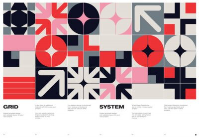Fototapete Swiss Poster Design Template With Abstract Geometric Shapes