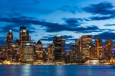 Fototapete Sydney Central Business District in der Nacht