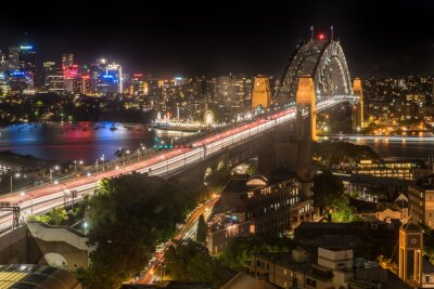 Fototapete Sydney Harbour Bridge bei Nacht