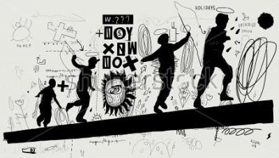 Fototapete Symbolbild von Jungen, die auf einem Klotz laufen