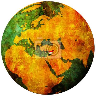 Globus Karte.Fototapete Syrien Flagge Auf Globus Karte