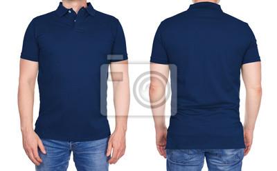 887ac5945794cc Fototapete T-Shirt Design - junger Mann im leeren dunkelblauen Poloshirt  von vorne und hinten
