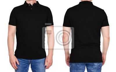 auf Lager Beförderung lebendig und großartig im Stil Fototapete: T-shirt design - junger mann in leeren schwarzen poloshirt vorne