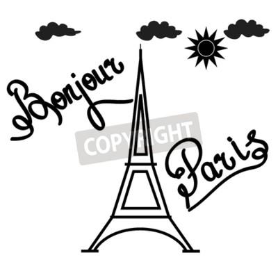 T-shirt typografie-grafik mit zitat bonjour paris. art und ...