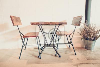 Tabelle und stuhl machen es holz und stahl, möbel modern & loft-stil ...