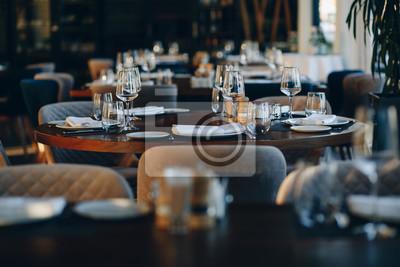 Fototapete tableware beautiful table setting in restaurant