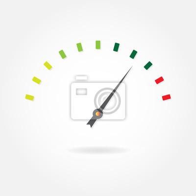 Tachometer oder meter-symbol mit pfeil. bunte infografische element ...