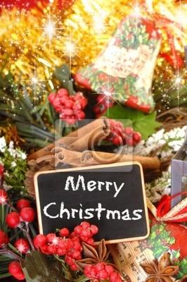 Frohe Weihnachten Englisch.Fototapete Tafel Frohe Weihnachten In Englisch Mit Sternanis Und Zimt Und