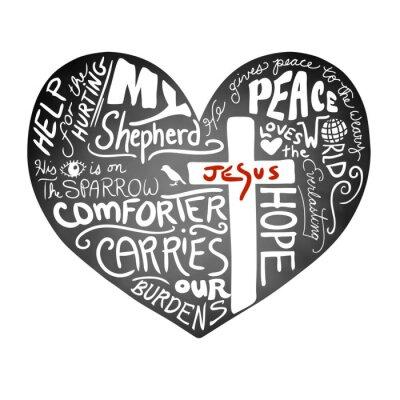 Fototapete Tafel Herz Vektor mit weißen handgeschriebenen Typografietext mit christlichem Kreuz und Jesus in den roten Buchstaben, inspirierend Kirchenbulletinentwurf, Frieden, Liebe und Hilfe für das verletzend