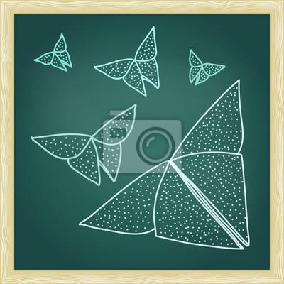 Tafel mit Zeichnung des Origami Schmetterlinge
