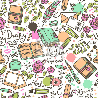 Tagebuch Seamless Pattern