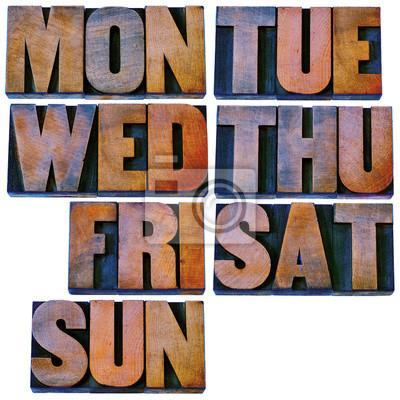 Tagen der Woche in Buchdruck Holzart
