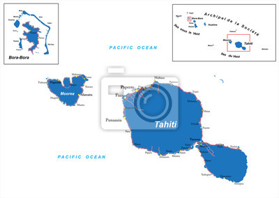 Fototapete: Tahiti and bora-bora map