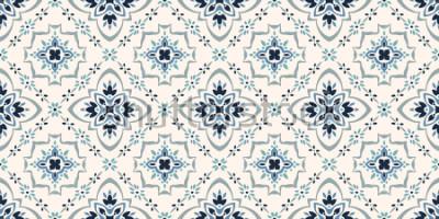 Fototapete Talavera-Muster Azulejos Portugal. Türkische Verzierung Marokkanisches Fliesenmosaik. Spanisches Porzellan. Keramikgeschirr, Folk-Print. Spanische Keramik Ethnischer Hintergrund. Mediterrane nahtlose