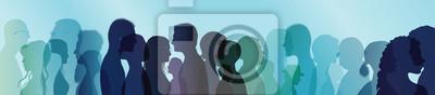 Fototapete Talking crowd. People talking. Dialogue between people. Colored silhouette profiles. Multiple exposure