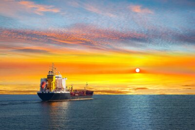 Fototapete Tanker ship on calm sea in the morning.