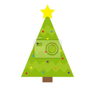 Spitze Für Tannenbaum.Fototapete Tannenbaum Symbol Gelber Stern Spitze Oben Runder Ball Licht