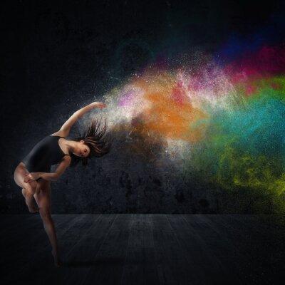 Fototapete Tanz mit farbigen Pigmenten