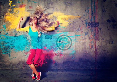 Fototapete tanzen Mädchen mit Farbspritzern - Movin 04