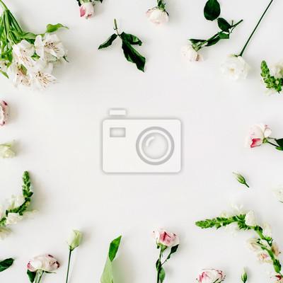 Tapete, beschaffenheit, rahmen. rosa rosen und weiße blumen auf ...