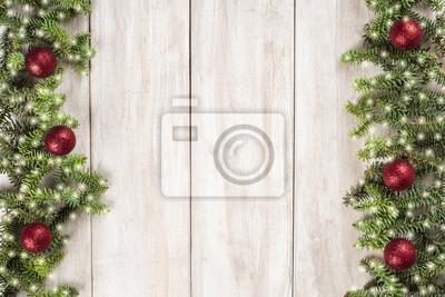 Fototapete Tarjeta De Navidad Con Fondo Blanco De Madera Para Texto