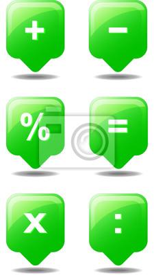 Taschenrechner Icon Grün Web Fototapete Fototapeten Rechnen