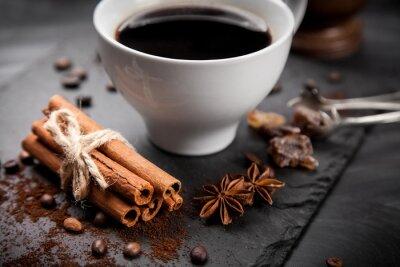 Fototapete Tasse Kaffee auf Stein Board