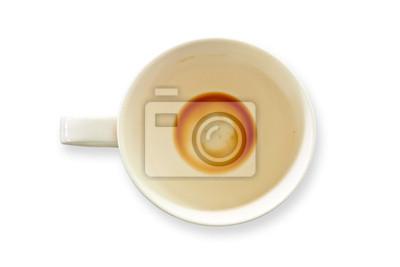 Fototapete Tasse Kaffee auf weißem Hintergrund.